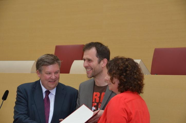 Frau Ruth Müller, SPD Landtagsabgeordnete bei der Würdigung der Flüchtlingshelfer