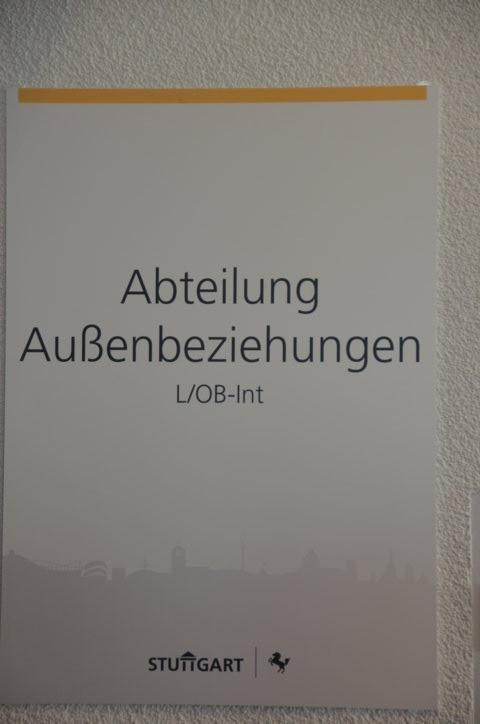 Präsentationsecke der Abteilung Außenbeziehungen der Stadt Stuttgart
