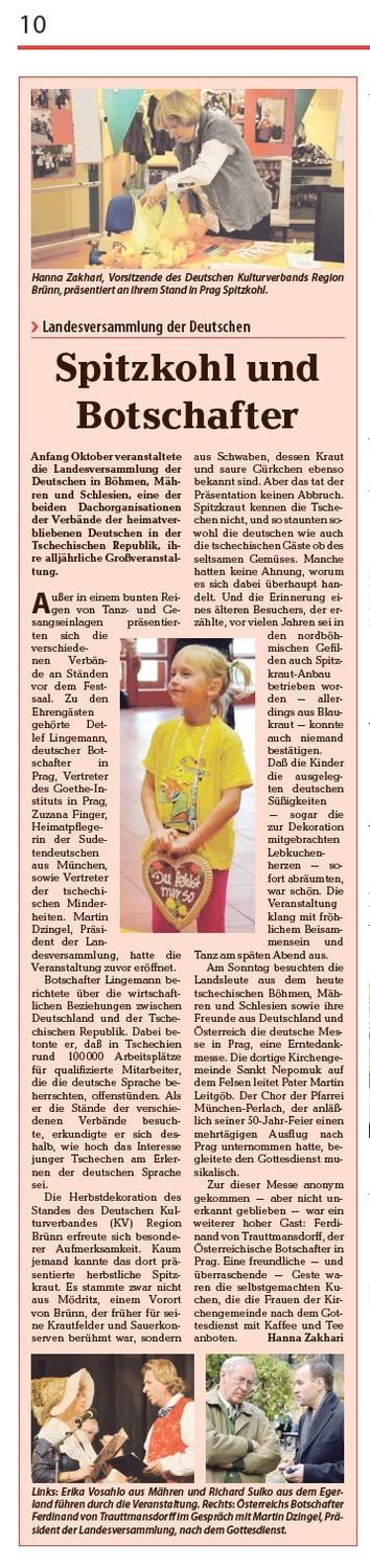 Bericht der Sudetendeutschen Zeitung vom 1.11.2013