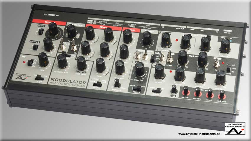 The MOODULATOR analog Desktop Synthesizer. Front view. Click for big Picture