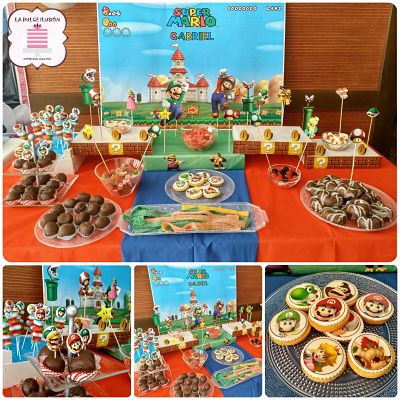 candy bar y mesa dulce mario bros, video juego, personajes en murcia, cartagena