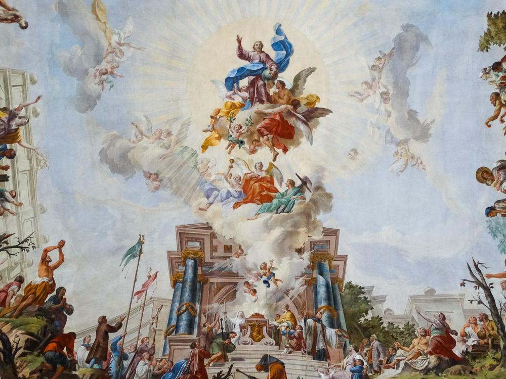Ausschnitt Deckenfresko: Anbetung Christi