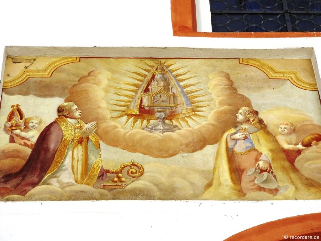 Albert III. und seine Gemahlin den Reliquienschatz verehrend