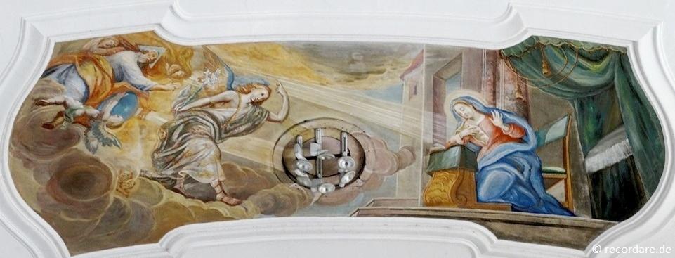 """Deckenfresko """"Maria Verkündigung"""" um 1750, Maler unbekannt, Mariakirchen"""