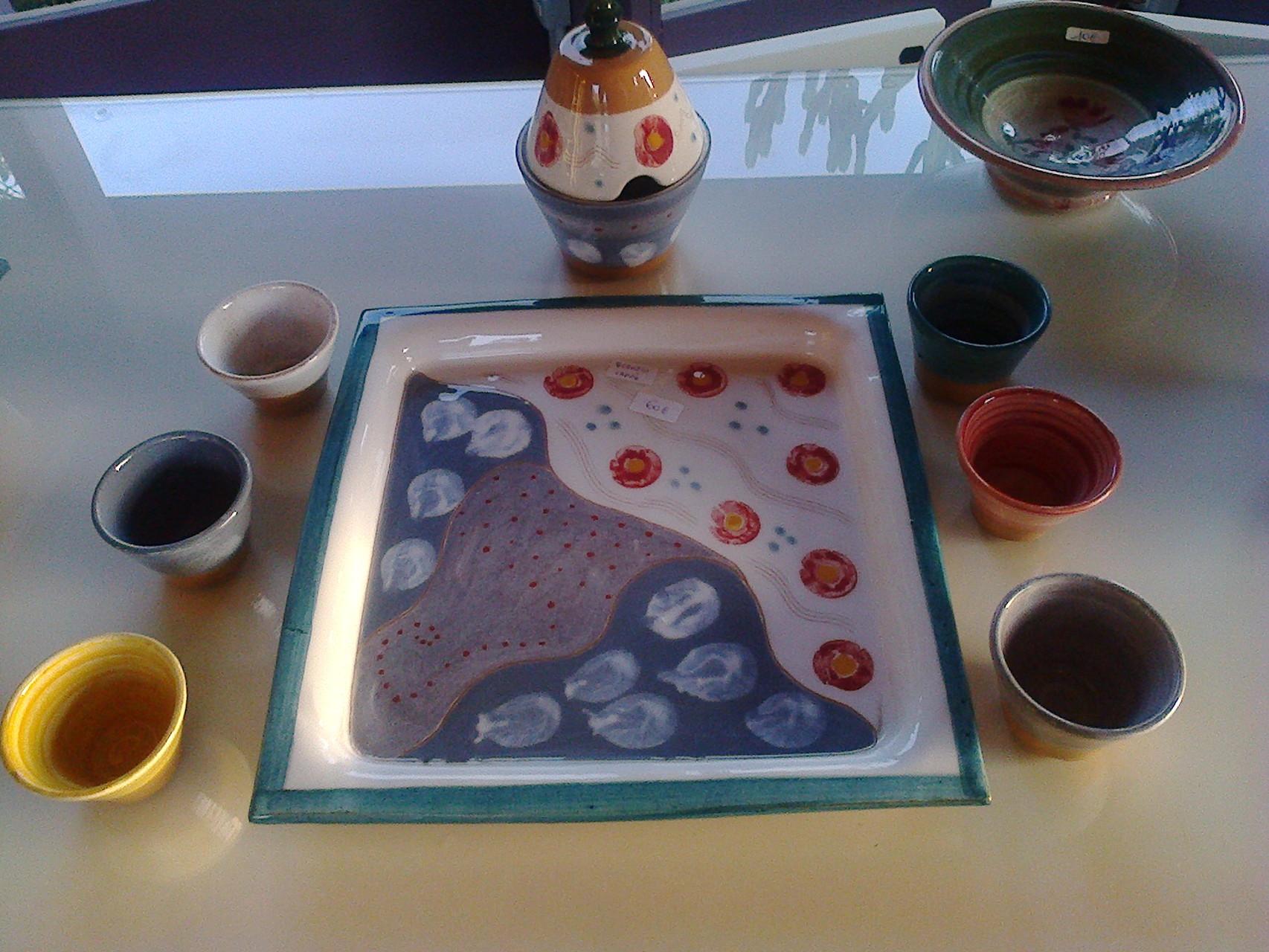 service à café pour expresso (plateau+ petites tasses+sucrier)