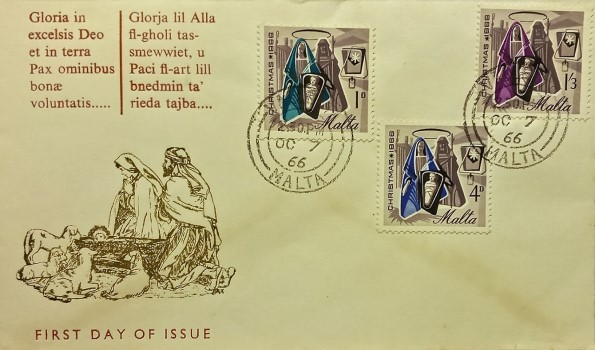 Jesus Christ and Christmas on first day cover of Malta of 1966; Topical and thematic