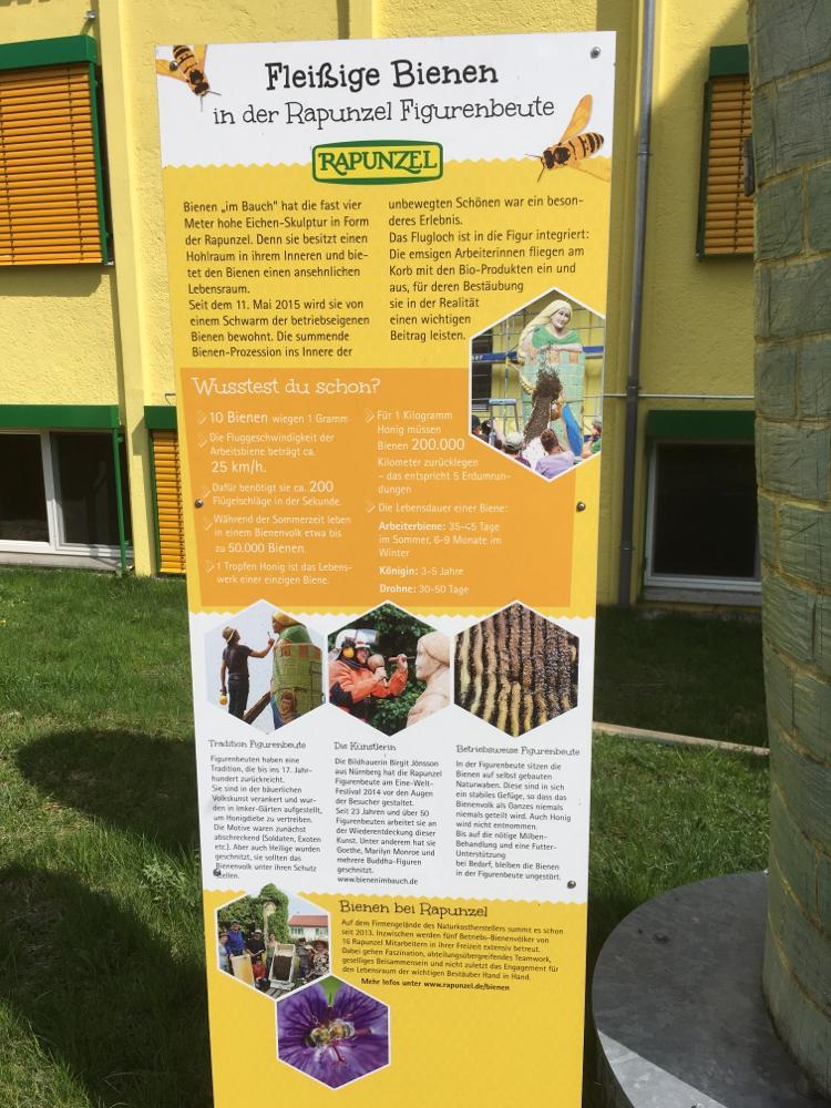 Die Tafel beim Rapunzel für Bienen erklärt alles
