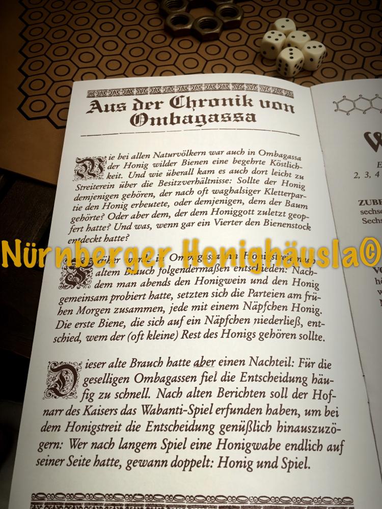 Chronik von Ombagassi, das Honigspiel im Honighäusla Nürnberg