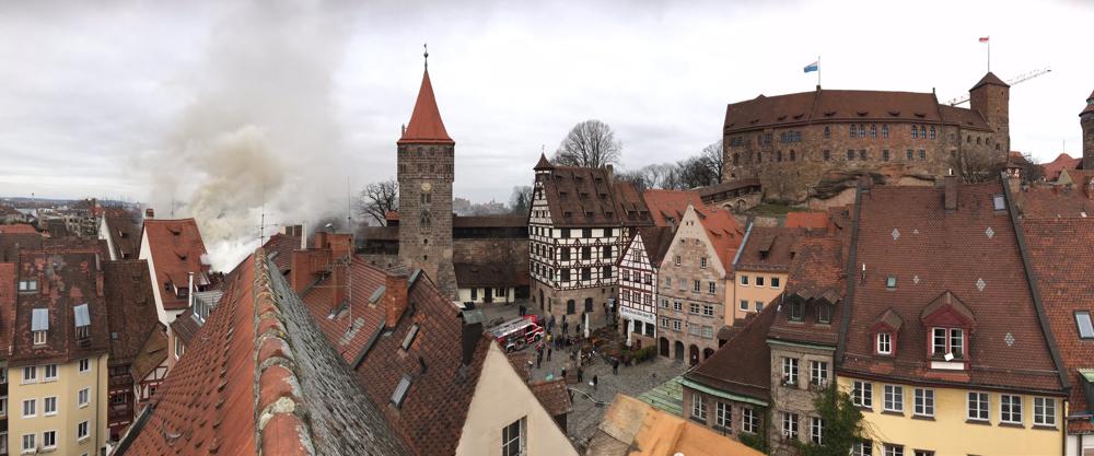 Brand beim Honighäusla, Nürnberger Altstadt Sankt Sebald