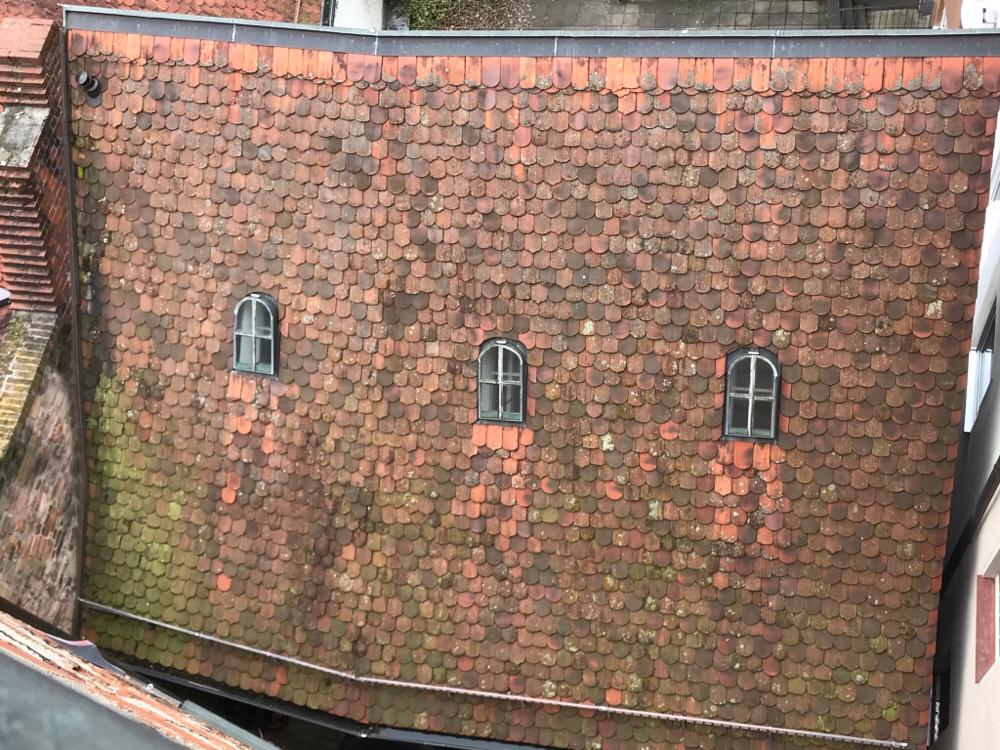 Nürnberger Honighäusla von oben, gleich im Rücken des Brandes