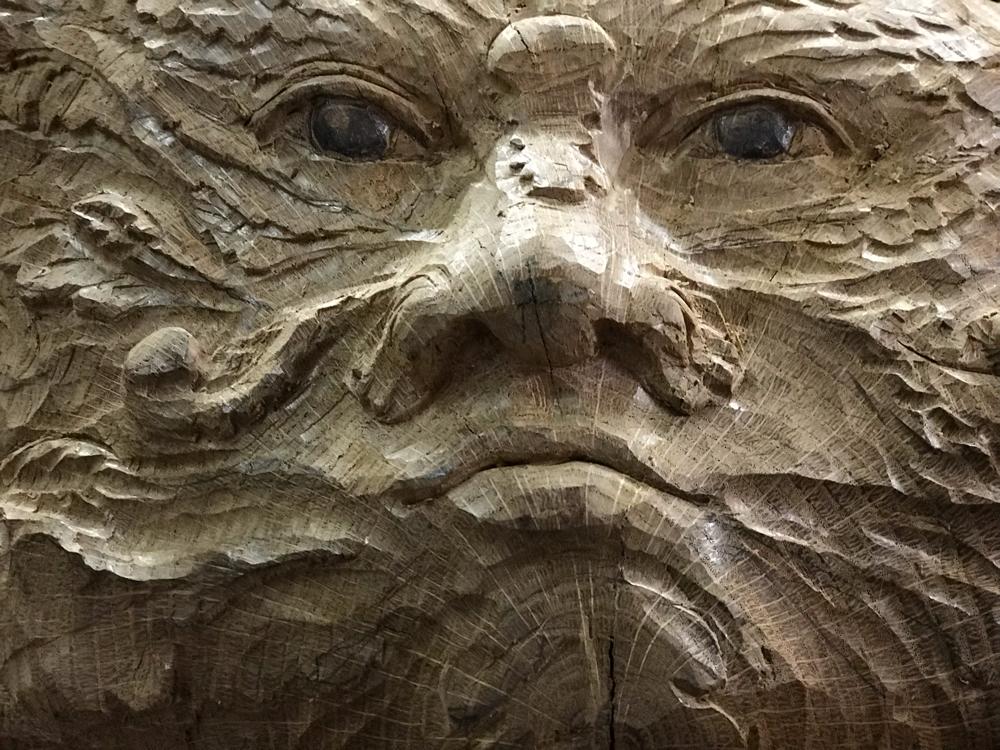 Green man, der grüne Mann, Maske in Eichenholz