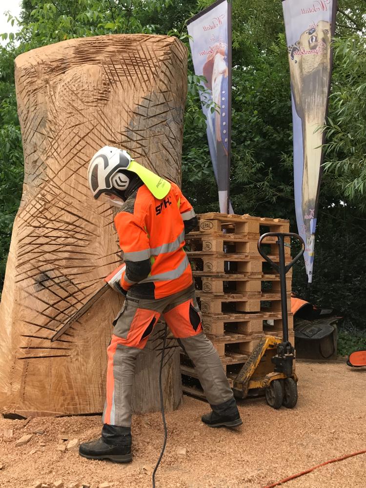 Eichenstammholz, ein Bienenhaus entsteht