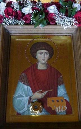 Ikone des Hl. Panteleimon mit Reliquie des Heiligen