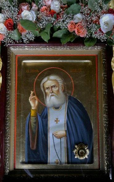 Ikone des Hl. Seraphim von Sarov mit Reliquie des Heiligen