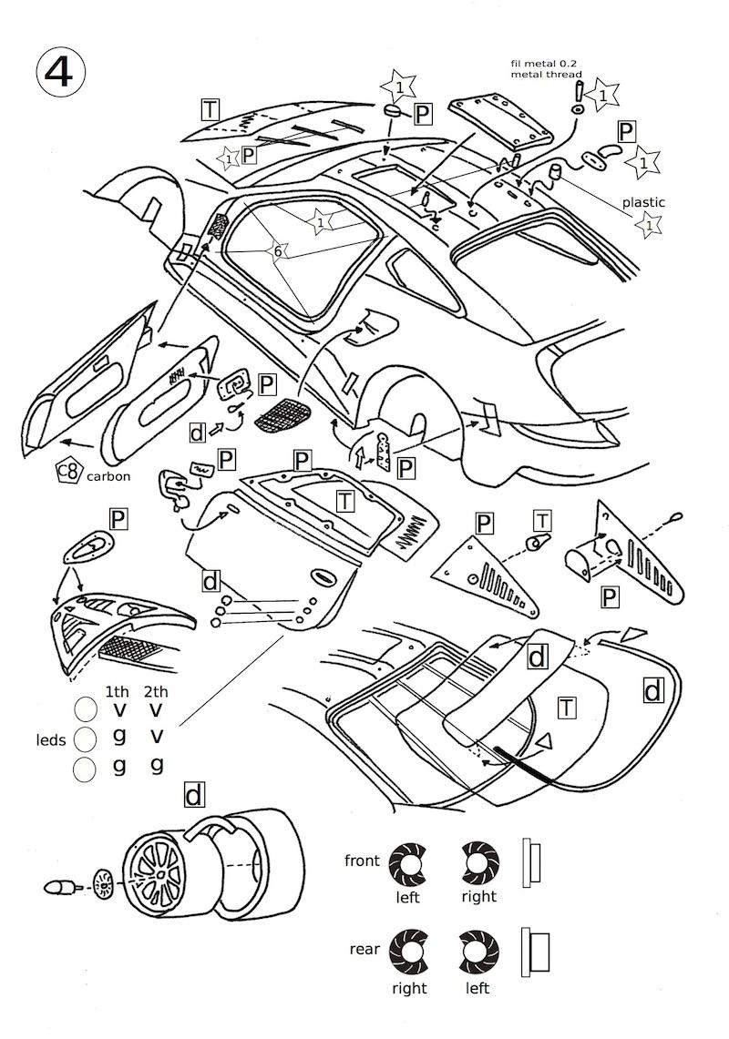 Page 4 de la notice du kit Porsche RSR 1/43