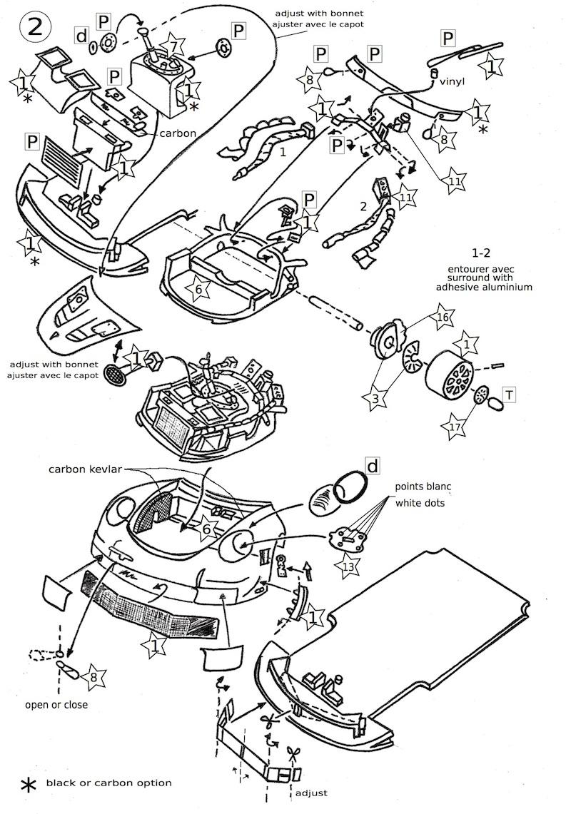 Page 2 de la notice du kit Porsche RSR 1/43