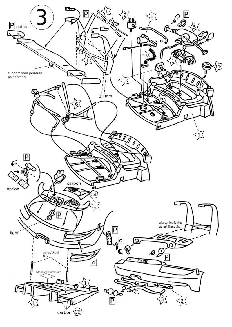 Page 3 de la notice du kit Porsche RSR 1/43