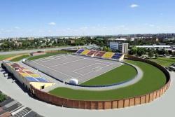 """In diesem wunderschönen Stadion findet die EM 2010 statt. Gleich rechts neben dem Sportplatz bedindet sich das Hotel """"Sport"""", indem alle Teams untergebracht werden."""