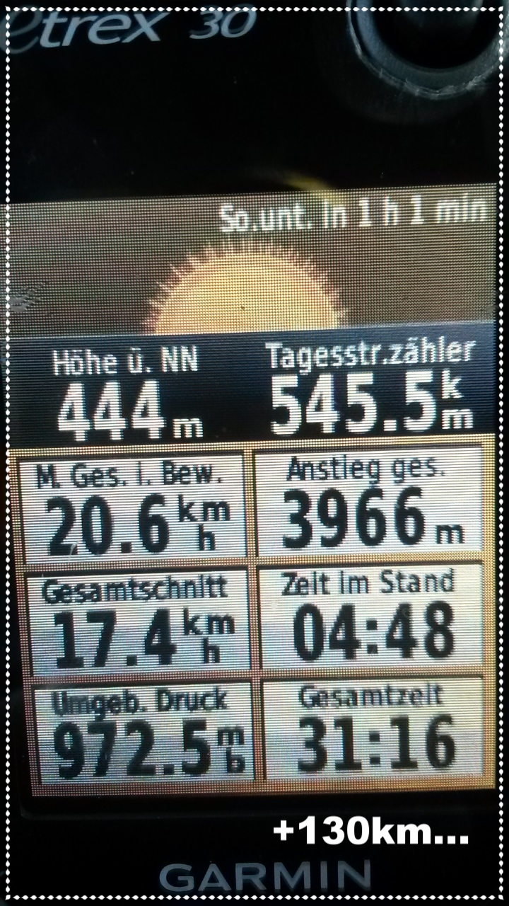 das stolze Ergebnis... 130km gehören aber noch oben drauf...