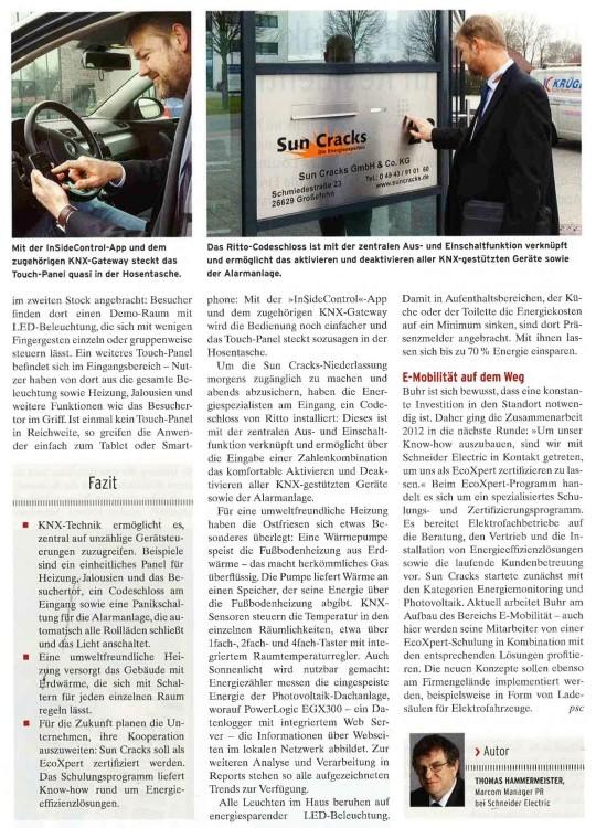"""Foto: Artikel über die Firma Sun Cracks in dem Informationsheft """"Smarthouse bus-guide"""". Ausgabe 1-2014 Juni"""