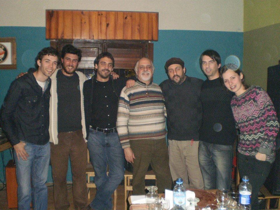 con Jorge Santos, Hernan Loza, Sebastian Pompilio, Virginia Morillas y Gonzalo Lázaro después de tocar en San MIguel