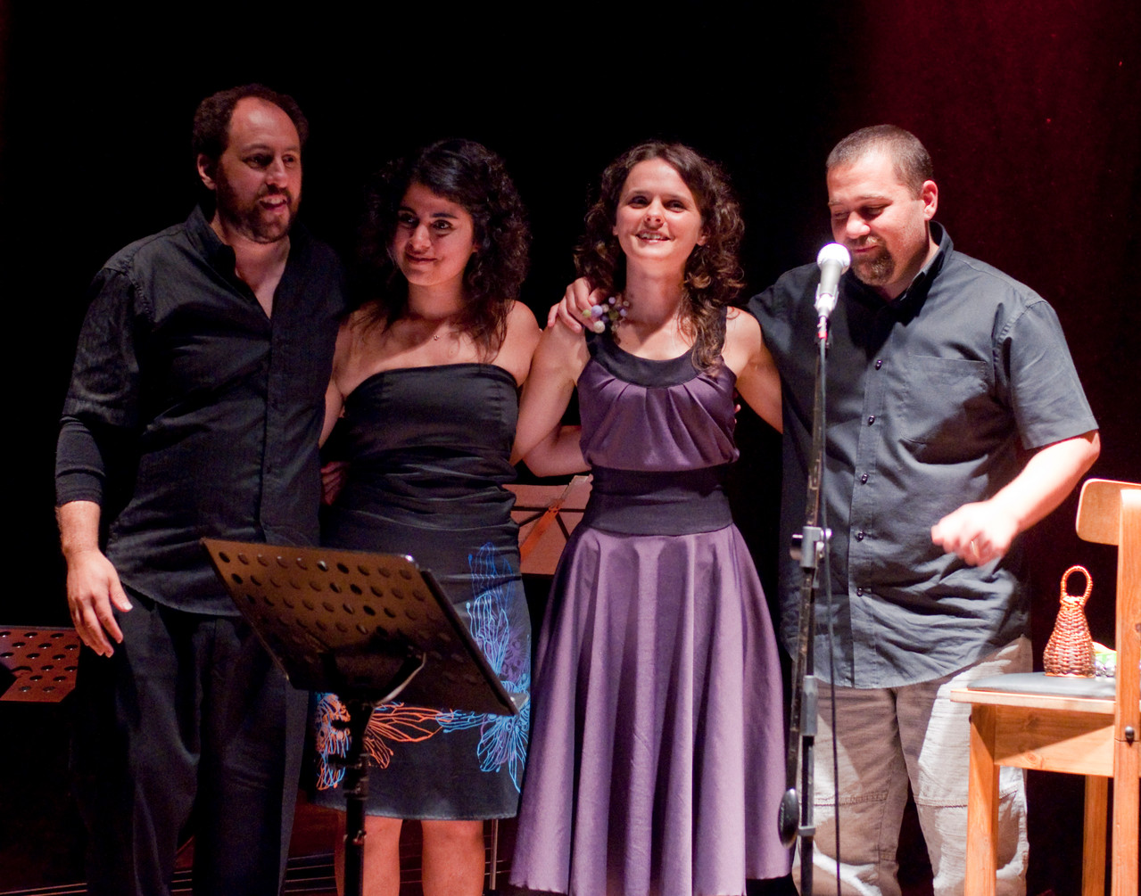 Con Carolina Valcarcel, Carolina Cajal y Leandro Savelón