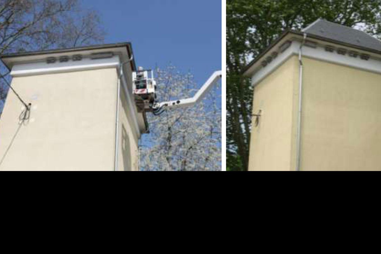 5 Nistplätze für Mauersegler und 7 Schwegler-Doppelnester für Mehlschwalben montierten wir unter dem Dach dieses Trafo-Hauses in Nieder-Erlenbach. Foto: Ingolf Grabow