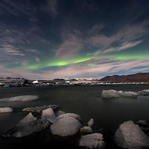 Jokulsarlon Glacier Lagoon Green Bend, Austurland,  Aurora Borealis Northern Lights, Iceland