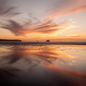 Otaki Beach at sunset with beautiful warm Colors, Northern Island, New, Zealand, Pacific Ocean