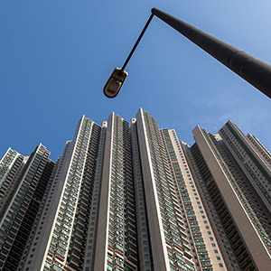 Hongkong Appartement Buildings with a Lamp, Perspective, Skyscraper, China, Asia