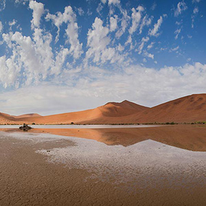 Sossusvlei Namib Desert Red Sand Dunes after Rain reflecting in the Water, Namibia, Africa