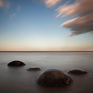 Moeraki Boulders at Sunset, Koekohe Beach, Long Exposure, New Zealand