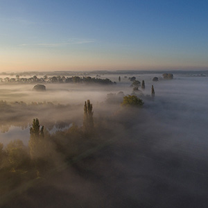 Morning Fog, Leeheimer See, DJI Phantom 3, Drone, Hessen, Germany, Europe