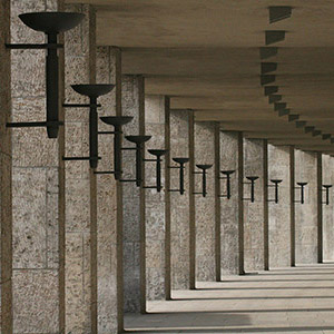 Columns and Candle Holders, Classic Architecture, Berlin Olympia Stadium, Germany, Europe