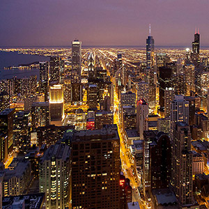 Chicago Downtown, Willis Tower Observation Deck, Long Night Exposure, City Lights, USA