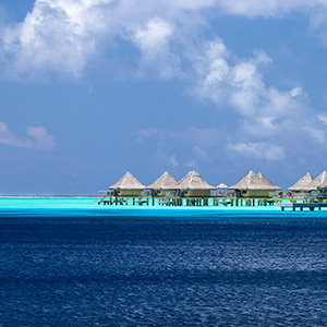 Overwater Bungalows and Beautiful Water, Bora Bora, French Polynesia, South Pacific Ocean