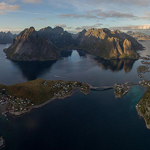 Reine Fishermen Village, Aerial Panoramic with Drone, Lofoten Islands, Norway, Europe