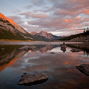 Medicine Lake Sunset, Jasper National Park, Red Glow, Sunset, Alberta, Canada
