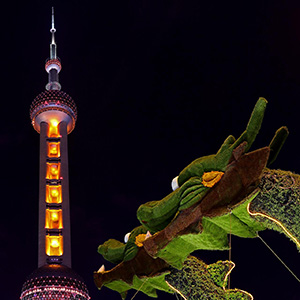 Two Dragons facing the Pearl Tower Skyline, Television Tower, Shanghai, China, Asia