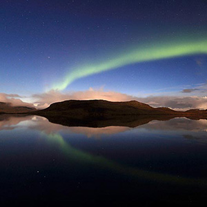 Aurora Borealis Northern Lights reflecting in a Lake, Snaefellsnes, Iceland, Europe