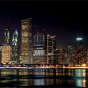 Chicago Skyline illuminated, Obama, Night, Long Exposure, Illinois, USA