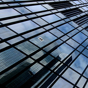 Deutsche Bank Reflection in a Glas Facade, Frankfurt Skyline, Germany, Europe
