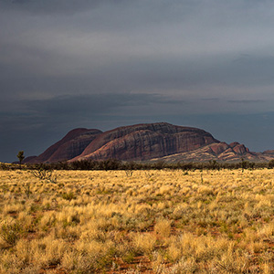 Olgas, Kata Tjuta with rainclouds in the Outback, Northern Territory, Australia