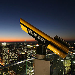 Galaxy Binoculars, Observation Plattform, Maintower, Night, Long Exposure, Frankfurt Skyline, Germany, Europe