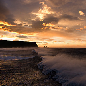 Morning Glory - majestic sunrise with giant waves close to Vik i Myrdal, Sudurland, , Scandinavia