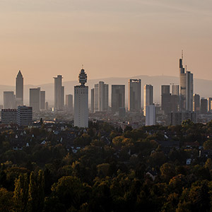 Frankfurt Skyline and Skyscrapers in afternoon light, View from Goethe Tower, Germany, Europe