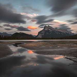 Vermillion Lakes Sunrise, Long Exposee, Banff National Park, Alberta, Canada