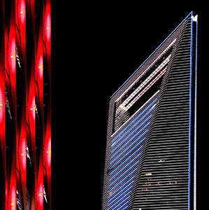 Red and Blue illuminated Skyscraper of the Shanghai Skyline, Long Exposure, Night, China, Asia