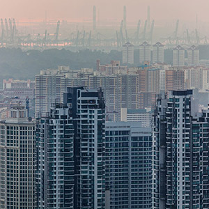Appartement Buildings and Harbour Cranes in Singapore Downtown, Asia