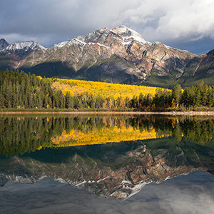 Autumn Colors, Yellow Larches at Pyramid Lake, Jasper National Park, Alberta, Canada